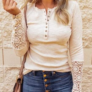 🛍 CROCHET LACE DETAILED SLEEVE TOP